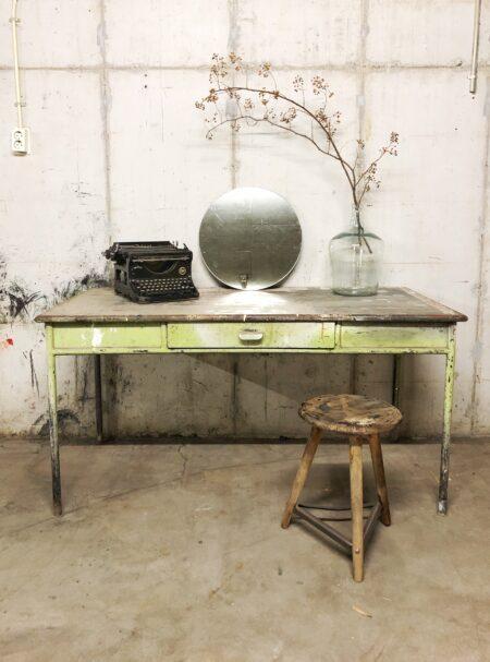 metaal, vintage, industrieel, tafel, interieur