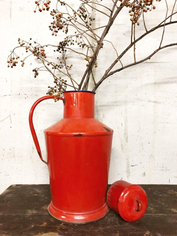 rood, emaille, brocante, woonaccessoires, interieur