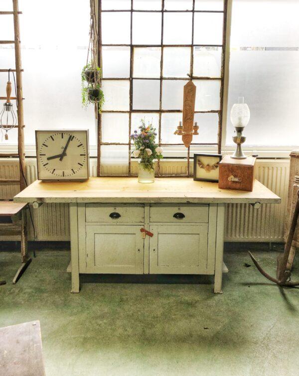 werkbank, vintage, keukeneiland, koffiebar, industrieel